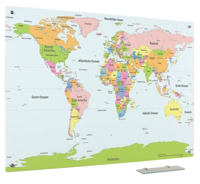 Glassboard Wereldkaart Staatkundig 90x120 Cm Wereldkaart